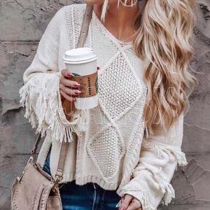 Bohemian White Fringe Sweater Top